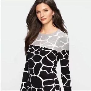 Talbots Giraffe Print Crew Sweater
